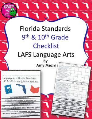 Teaching Ideas 4U - Amy Mezni - Florida Standards LAFS Language Arts 9th10th Grade Checklist Layered Flap Book