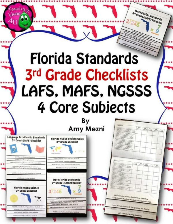 Teaching Ideas 4U - Amy Mezni - Florida Standards LAFS MAFS NGSSS 3rd Grade Checklists Layered Flap Books