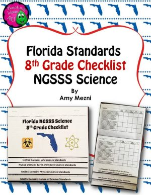 Teaching Ideas 4U - Amy Mezni - Florida Standards NGSSS Science 8th Grade Checklist Layered Flap Book