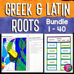 Teaching Ideas 4U - Amy Mezni - Greek & Latin Roots 40 Week Study Lesson Plans, Games+ BUNDLE Grades 4 5 6