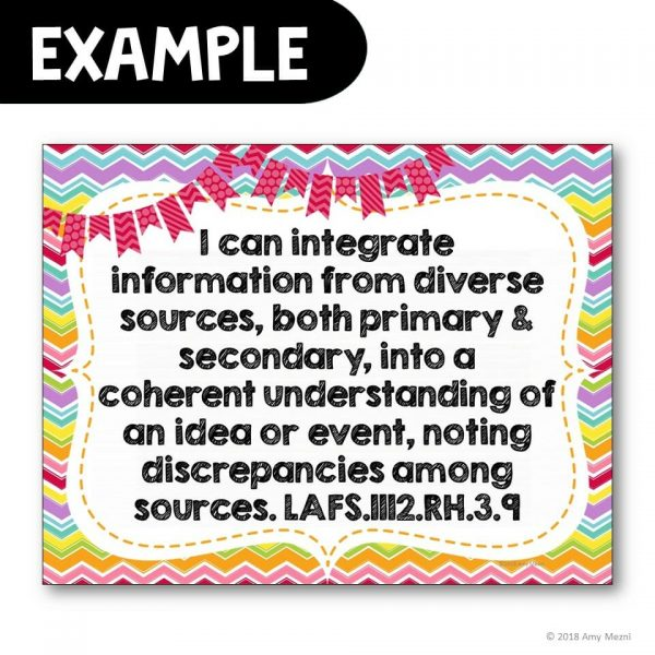 Teaching Ideas 4U - Amy Mezni - I Can Posters 11th & 12th Grade LAFS ELA Florida Standards Language Arts