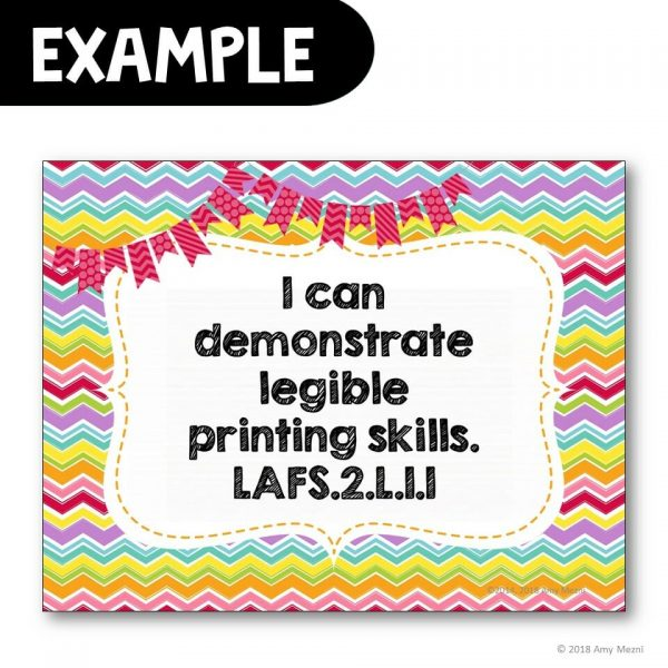 Teaching Ideas 4U - Amy Mezni - I Can Posters 2nd Grade LAFS MAFS NGSSS Core Classes Florida Standards