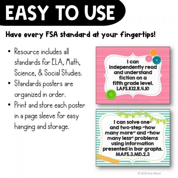 Teaching Ideas 4U - Amy Mezni - I Can Posters 3rd Grade LAFS MAFS NGSSS Core Classes Florida Standards