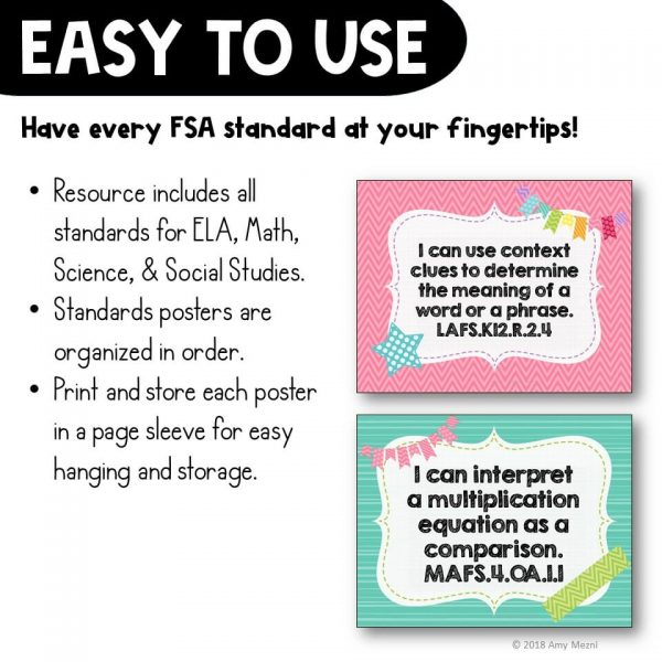Teaching Ideas 4U - Amy Mezni - I Can Posters 4th Grade LAFS MAFS NGSSS Core Classes Florida Standards