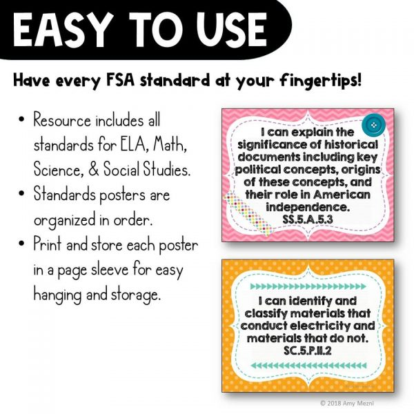 Teaching Ideas 4U - Amy Mezni - I Can Posters 5th Grade LAFS MAFS NGSSS Core Classes Florida Standards
