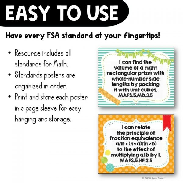 Teaching Ideas 4U - Amy Mezni - I Can Posters 5th Grade MAFS Mathematics Florida Standards Math
