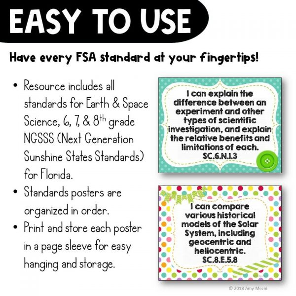 Teaching Ideas 4U - Amy Mezni - I Can Posters 6th, 7th, 8th Grade NGSSS Earth Space Science Florida Standards