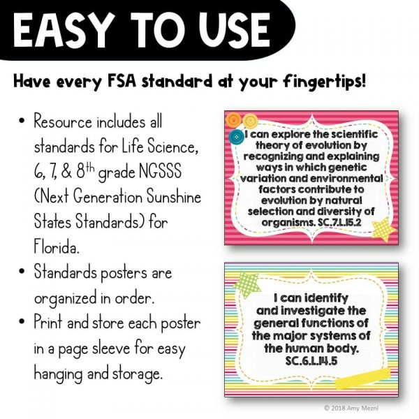 Teaching Ideas 4U - Amy Mezni - I Can Posters 6th, 7th, & 8th Grade NGSSS Life Science Florida Standards