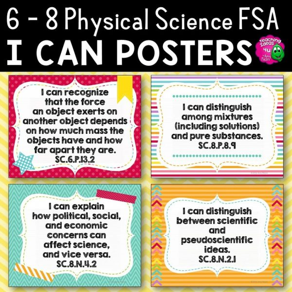 Teaching Ideas 4U - Amy Mezni - I Can Posters 6th, 7th, & 8th Grade NGSSS Physical Science Florida Standards