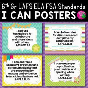 Teaching Ideas 4U - Amy Mezni - I Can Posters 6th Grade LAFS ELA Florida Standards Language Arts