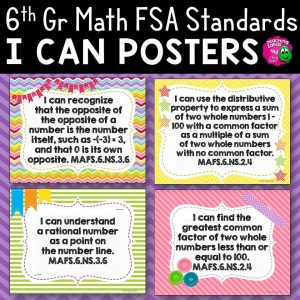 Teaching Ideas 4U - Amy Mezni - I Can Posters 6th Grade MAFS Mathematics Florida Standards Math