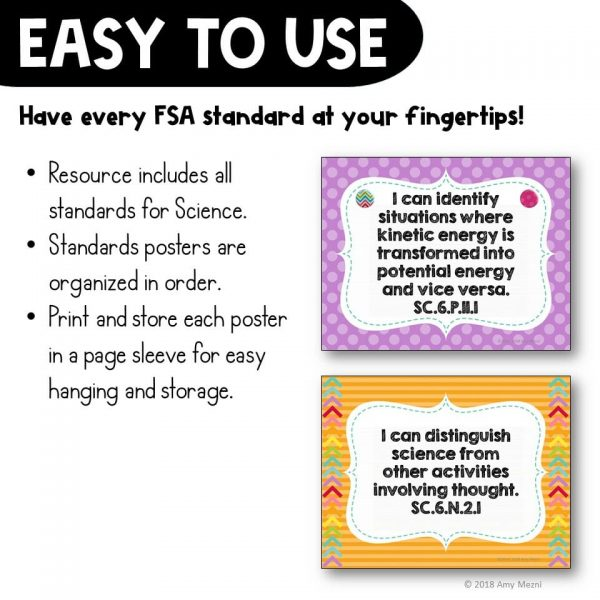 Teaching Ideas 4U - Amy Mezni - I Can Posters 6th Grade NGSSS Science Florida Standards