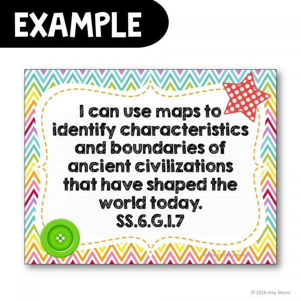 Teaching Ideas 4U - Amy Mezni - I Can Posters 6th Grade World History Florida Standards