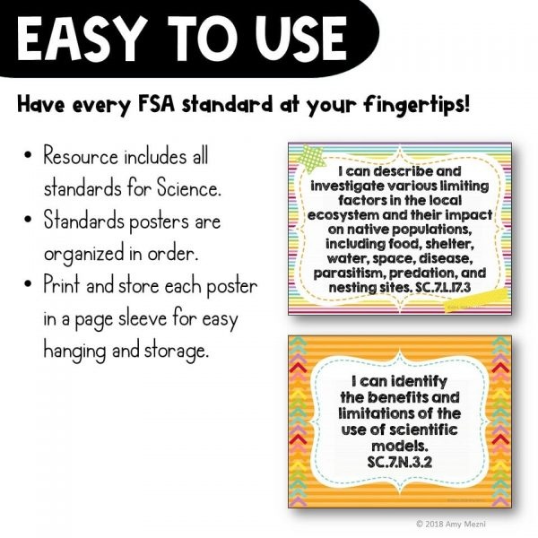 Teaching Ideas 4U - Amy Mezni - I Can Posters 7th Grade NGSSS Science Florida Standards