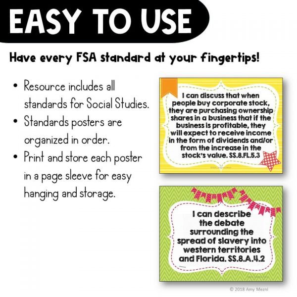 Teaching Ideas 4U - Amy Mezni - I Can Posters 8th Grade American History Florida Standards
