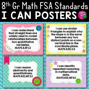 Teaching Ideas 4U - Amy Mezni - I Can Posters 8th Grade MAFS Mathematics Florida Standards