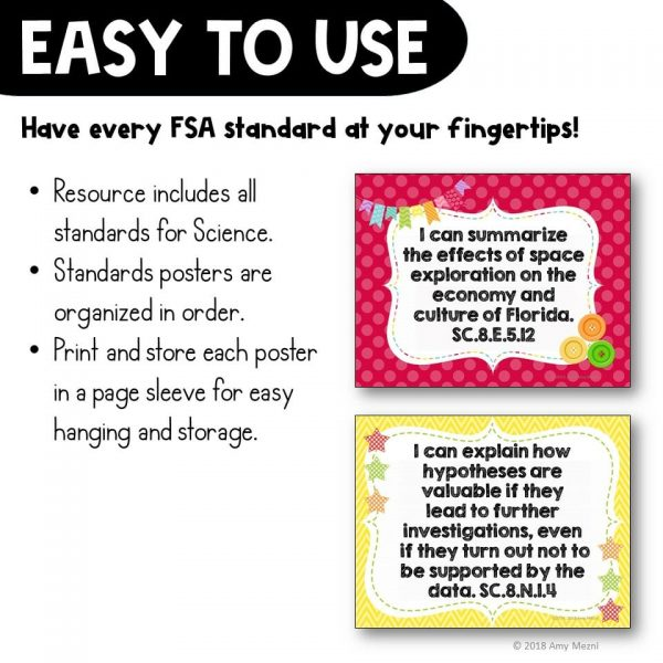 Teaching Ideas 4U - Amy Mezni - I Can Posters 8th Grade NGSSS Science Florida Standards