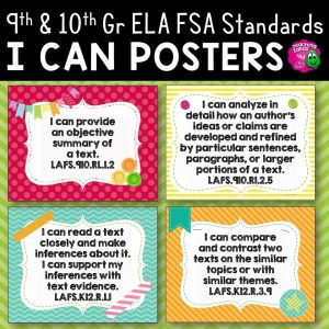 Teaching Ideas 4U - Amy Mezni - I Can Posters 9th & 10th Grade LAFS ELA Florida Standards Language Arts