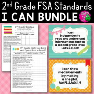 Teaching Ideas 4U - Amy Mezni - I Can Posters & Checklists Bundle 2nd Grade Florida LAFS MAFS NGSSS Standards
