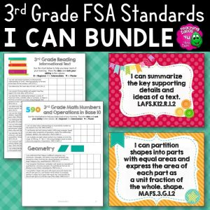 Teaching Ideas 4U - Amy Mezni - I Can Posters & Checklists Bundle 3rd Grade Florida LAFS MAFS NGSSS Standards