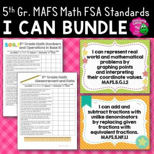 Teaching Ideas 4U - Amy Mezni - I Can Posters & Checklists Bundle 5th Grade Florida MAFS Standards