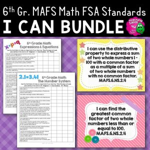 Teaching Ideas 4U - Amy Mezni - I Can Posters & Checklists Bundle 6th Grade Florida MAFS Standards