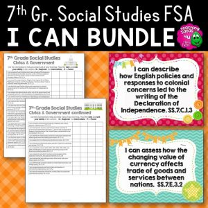 Teaching ideas 4u - Amy Mezni - I Can Posters & Checklists Bundle 7th Grade Florida Civics Standards