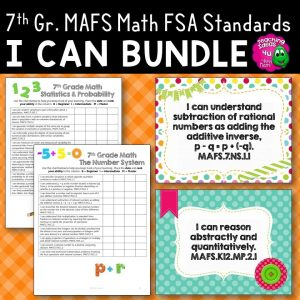 Teaching Ideas 4U - Amy Mezni - I Can Posters & Checklists Bundle 7th Grade Florida MAFS Math Standards