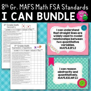 Teaching Ideas 4U - Amy Mezni - I Can Posters & Checklists Bundle 8th Grade Florida MAFS Math Standards