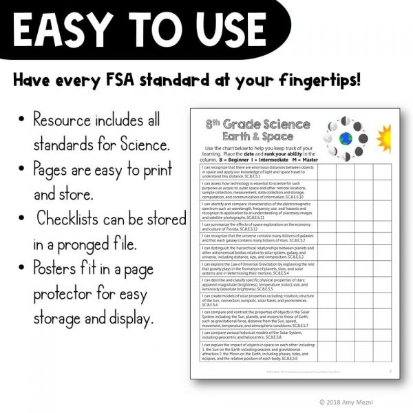 Teaching Ideas 4U - Amy Mezni - I Can Posters & Checklists Bundle 8th Grade Florida NGSSS Science Standards