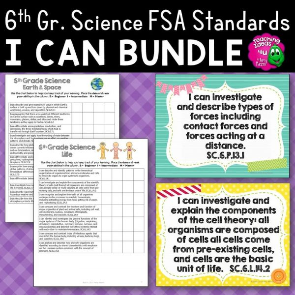 Teaching Ideas 4U - Amy Mezni - I Can Posters & Student Checklists Bundle 6th Gr NGSSS Science Florida Standards