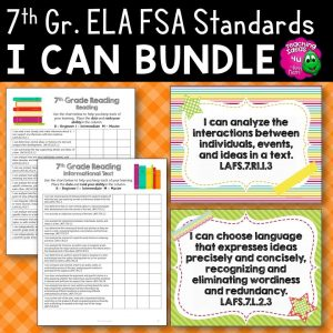 Teaching Ideas 4U - Amy Mezni - I Can Posters & Student Checklists Bundle 7th Grade Florida LAFS Standards
