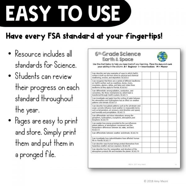 Teaching Ideas 4U - Amy Mezni - I Can Student Checklists 6th Grade NGSSS Science Florida Standards