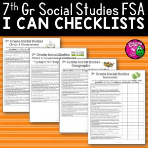 Teaching Ideas 4U - Amy Mezni - I Can Student Checklists 7th Grade Civics Florida Standards
