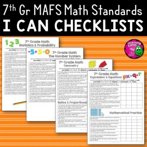 Teaching Ideas 4U - Amy Mezni - I Can Student Checklists 7th Grade MAFS Math Florida Standards Mathematics