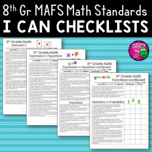 Teaching Ideas 4U - Amy Mezni - I Can Student Checklists 8th Grade MAFS Math Florida Standards Mathematics