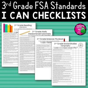 Teaching Ideas 4U - Amy Mezni - I Can Student Checklists for 3rd Grade Florida Standards LAFS MAFS NGSSS