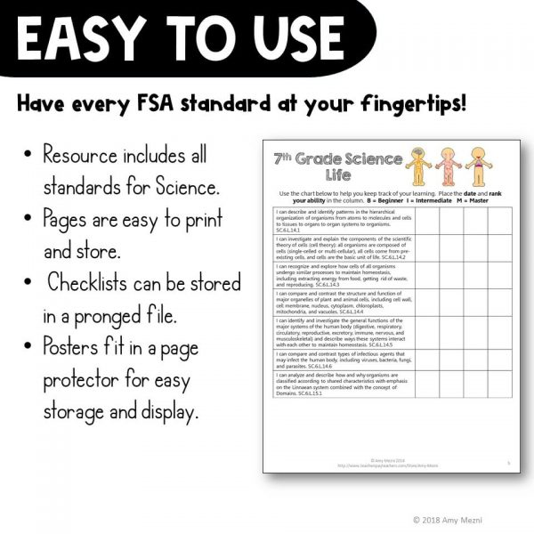 Teaching Ideas 4U - Amy Mezni - Life Science Florida Standards I Can Posters & Checklists Bundle