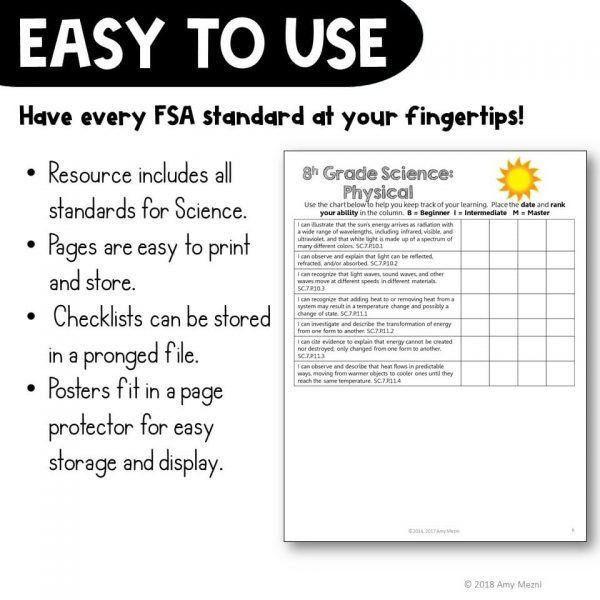 Teaching Ideas 4U - Amy Mezni - Physical Science Florida Standards I Can Posters & Checklists Bundle