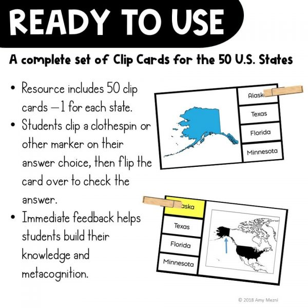 Teaching Ideas 4U - Amy Mezni - The 50 United States Geography Pick 'n Flip Clip Cards Map Center Activity