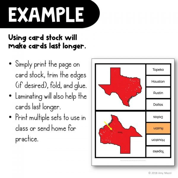 Teaching Ideas 4U - Amy Mezni - The U.S. States & Capitals Geography Pick 'n Flip Clip Cards Map Center Activity