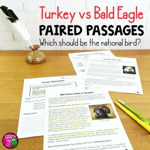 Teaching Ideas 4U - Amy Mezni - Turkey vs Bald Eagle Paired Reading Comprehension Passages & Opinion Writing
