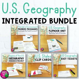 Teaching Ideas 4U - Amy Mezni - U.S. Geography & ELA Integrated Bundle Reading, Writing & Social Studies