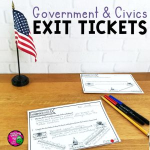 Teaching Ideas 4U - Amy Mezni - U.S. Government & Civics Exit Tickets Set