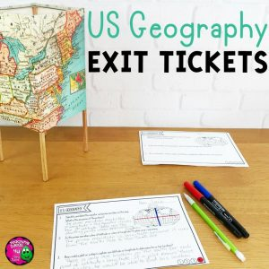 Teaching Ideas 4U - Amy Mezni - United States Geography Exit Tickets Set
