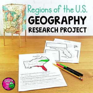 Teaching Ideas 4U - Amy Mezni - United States Geography Regions & State Research Project Unit Grade 4, 5, 6 US