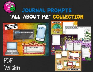 Teaching Ideas 4U - Amy Mezni - Journal Writing Prompts All About Me Color & Ink Saver Versions