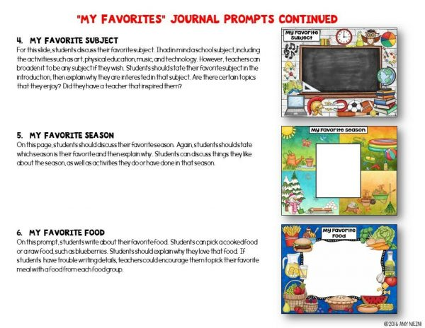 Teaching Ideas 4U - Amy Mezni - Journal Writing Prompts Bundle PDF Version Color & Ink Saver Included