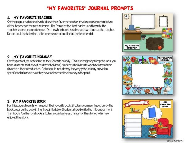 Teaching Ideas 4U - Amy Mezni - Journal Writing Prompts My Favorites GOOGLE Drive Version