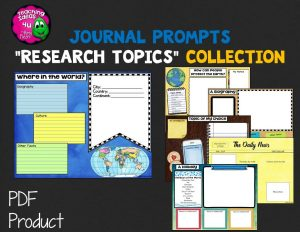 Teaching Ideas 4U - Amy Mezni - Journal Writing Prompts Research Topics Color & Ink Saver Versions